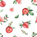Watercolor seamless pattern of pomegranates, flowers, leaves on a white background