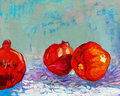 Pomegranates original oil painting of tasty pomegranate fruit punica granatum on canvas modern impressionism Royalty Free Stock Photo