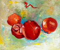 Pomegranates original oil painting of tasty pomegranate fruit punica granatum on canvas modern impressionism Royalty Free Stock Photography