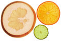 Pomelo orange and lemon isolated backlit slices of Royalty Free Stock Image
