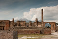 Pompei ancient rome in we get an insight into years ago the forum with vesuvius in background Stock Photography