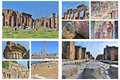 Pompeii collage of photos with ancient ruins of city near volcano vesuvius in italy Stock Image