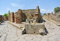 Pompeii a fork in the road at italy unesco world heritage site Royalty Free Stock Photo