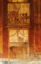Pompeii frescoes details of roman in italy Stock Photography