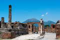 Pompeii and mt vesuvius ruins of with in the background Royalty Free Stock Images