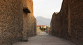 Pompeii at sunset the ruined roman city italy Royalty Free Stock Photos