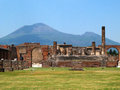 Pompeii view of the ruins and vesuvius volcano in background Royalty Free Stock Photos