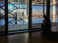 Pompidou Center rooftop sculptures seen from an inside gallery, Paris, France
