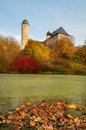 Pond with autumn leaves in rural turingia germany Royalty Free Stock Photography