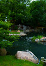 Pond in Chicago's - Japanese Gardens Royalty Free Stock Photo