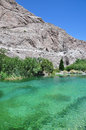 Pond in the desert view of a small whitewater canyon near town of palm springs california Royalty Free Stock Image