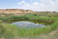 Pond in the desert yardang landform shuidonggou ningxia hui autonomous region china Stock Photo