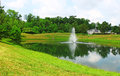 Pond with a fountain Royalty Free Stock Photography