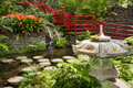 Pond and garden decoration in oriental style. Monte Palace Tropical Garden. Funchal, Portugal Royalty Free Stock Photo