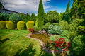 Pond in landscaped garden scenic view of with lawn and foreground Stock Photo