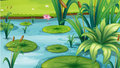 A pond with many plants illustration of Royalty Free Stock Image