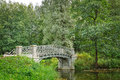 Pond with old  bridge in Gatchina, town near Saint Petersburg Royalty Free Stock Photo