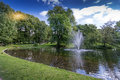 Pond in Park around Royal Palace Royalty Free Stock Photo