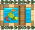 Pond scene with fish and waterlily Royalty Free Stock Photo