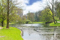Pond in Spring Park in Brussels. Royalty Free Stock Photo