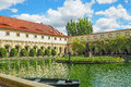 A pond in the Wallenstein Garden in Prague with a marble fountain with statues of Hercules and the Naiads. Royalty Free Stock Photo
