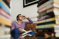Pondering over ideas portrait of man main idea of a book Royalty Free Stock Photography