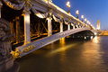 Pont alexandre bridge iii paris at blue hour in Royalty Free Stock Photo