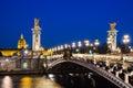 Pont Alexandre III bridge over river Seine with beautiful night Royalty Free Stock Photo