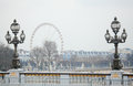 Pont Alexandre III covered with snow Stock Image