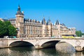Pont au Change Bridge and Castle Conciergerie, Paris, France Royalty Free Stock Photo