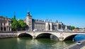 Pont au Change Bridge and Conciergerie Castle, Paris Royalty Free Stock Photo