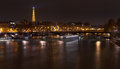Pont des arts in paris at night seine river and Stock Image
