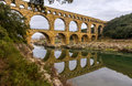 Pont du Gard, ancient Roman aqueduct, UNESCO site in France Royalty Free Stock Photo