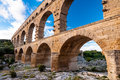Pont du gard close view of aqueduct horizontal france Royalty Free Stock Photo