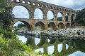 Pont du gard languedoc roussillon france the famous bridge unesco world heritage site Royalty Free Stock Photo