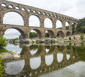 Pont du gard languedoc roussillon france the famous bridge unesco world heritage site Royalty Free Stock Photography