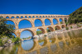 Pont du Gard is an old Roman aqueduct in Provence, France Royalty Free Stock Photo