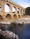 Pont du Gard roman aquaduct nimes river france Royalty Free Stock Photo
