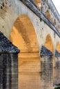 Pont du Gard, a Roman aqueduct, France (close) Royalty Free Stock Photo