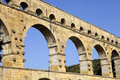 Pont du gard roman aqueduct in southern france near nimes Royalty Free Stock Image