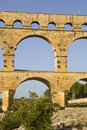 Pont du gard roman aqueduct in southern france near nimes Stock Images