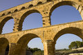 Pont du gard roman aqueduct in southern france near nimes Royalty Free Stock Photos