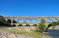 Pont du gard roman buiding aqueduct is unesco world heritage site france Stock Photo