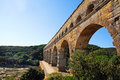 Pont du gard roman building aqueduct is unesco world heritage site france Royalty Free Stock Images