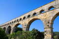 Pont du gard scenic view of roman building aqueduct is unesco world heritage site france Stock Photos