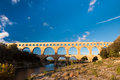 Pont du gard under blue sky france Stock Photography