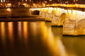 Pont neuf seine river paris night Stock Photos