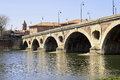 Pont neuf toulouse old bridge over the river garonne in Stock Photo