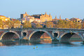The pont neuf in toulouse a sunny sammer day Royalty Free Stock Image
