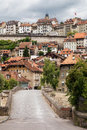 Pont saint jean fribourg and upper city of switzerland Royalty Free Stock Photos